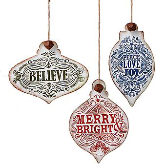 Believe Peace Joy Merry and Bright Text Christmas Ornaments Set of 3 Midwest CBK