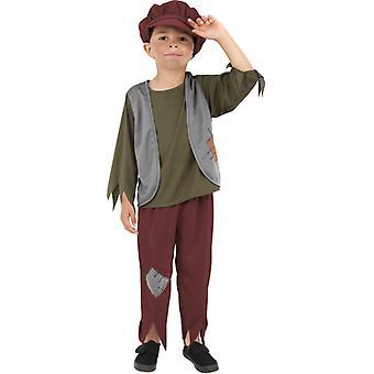 Vittoriano povero ragazzo costume bambini verde con Top Pantaloni & Hat Kids Costume