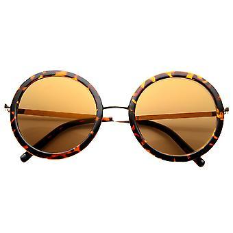 Womens retrô Glam Color lente de espelho redondo de óculos de sol