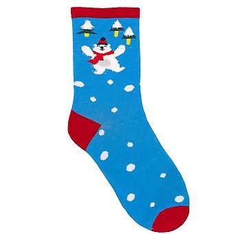 RJM дамы Рождество носки яркий синий медведь размер Великобритания 4-7
