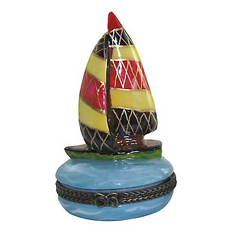 Sailboat Sail Away With Me Porcelain Hinged Trinket Box