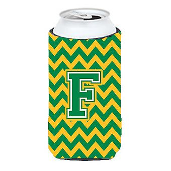 Letter F Chevron Green and Gold Tall Boy Beverage Insulator Hugger