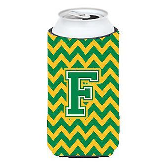 Letter F Chevron groen en goud hoog Boy drank isolator Hugger