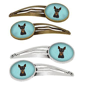 Damier bleu Min Pin Set de 4 pinces à cheveux Barrettes