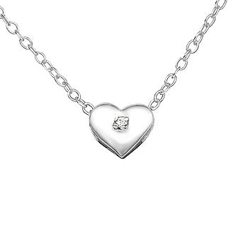 Heart - 925 Sterling Silver Jewelled Necklaces - W23303X