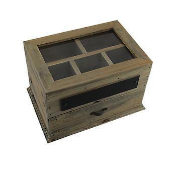 Vintage Holz Veranstalter Storage Box w/aufklappbaren Glasdeckel