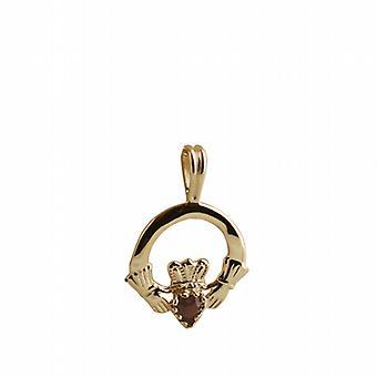 9 قيراط الذهب 20x15mm عادي Claddagh قلادة تعيين مع العقيق