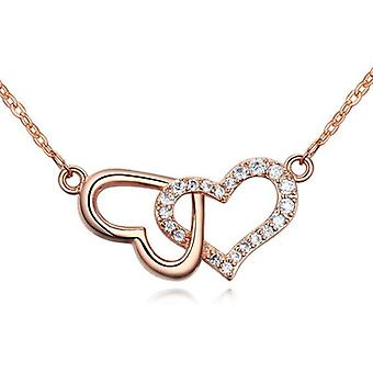 Womens Rose Gold Double Heart Pendant Necklace