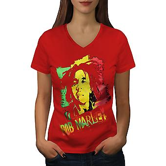 Marley Canabis Bob Women RedV-Neck T-shirt | Wellcoda