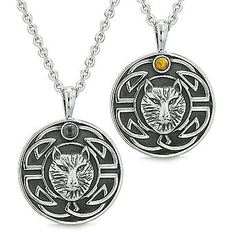 Amuletter kjærlighet par eller beste venner keltiske Viking ulv sett Tiger øye og simulert Onyx halskjede