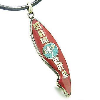 Amulett alten tibetischen alles sehenden Augen-Buddha Mantra Om Mani Padme Hum Türkis Fische Form Halskette