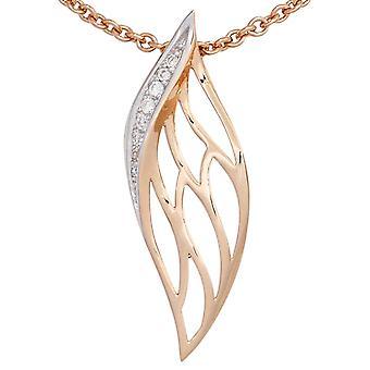 Anheng 585 gull delen rhodium belagt rosa gull 8 diamant strålende 0, 05 ct.