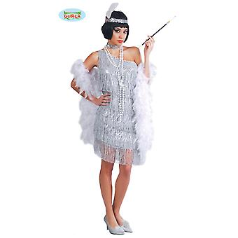 Sylvestre argent Charleston robe Carnaval 20 s parti costume frange féminine