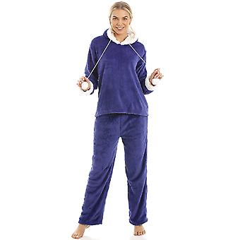 Camille Luxury Navy Blue Supersoft Fleece Hooded Pyjama Set