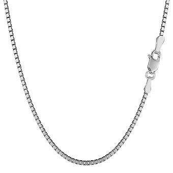 14k White Solid Gold Mirror Box Chain Necklace, 1.4mm