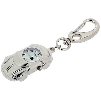 Cadeau tijd producten Cabrioley auto klok Key Ring - Zilver