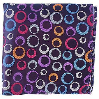 Círculos de gravatas de Knightsbridge e listra seda Pocket Square - roxo escuro