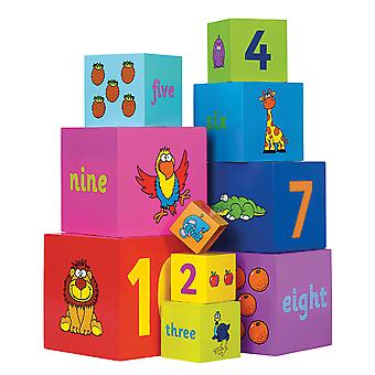 Tidlo Wooden Educational Rainbow Stacking Cubes Build Learn Play