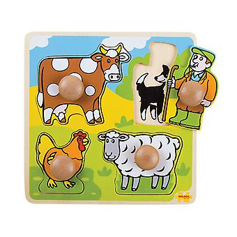 Bigjigs Toys Chunky Wooden My First Peg Jigsaw Puzzle (Farm) Child Educational