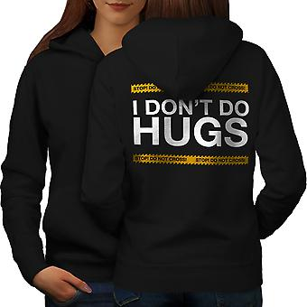 Hug Stop Introvert Women BlackHoodie Back | Wellcoda