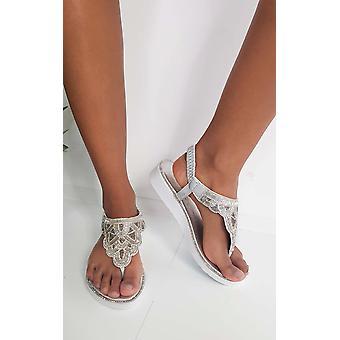 IKRUSH Womens Acer Diamante verzierte Sandalen