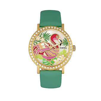 Bertha Luna Mother-Of-Pearl Leather-Band Watch - Turquoise