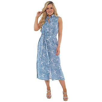 Womens Floral Print Linen Rich Button Through Dress