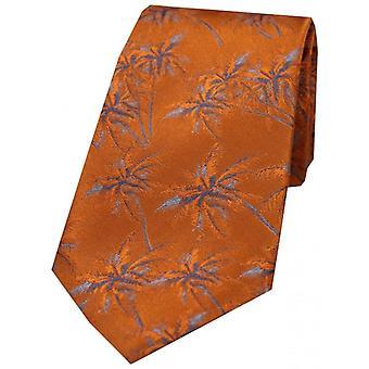 Дэвид ван Хаген пальмовое дерево шелковый галстук - сожжены оранжевый