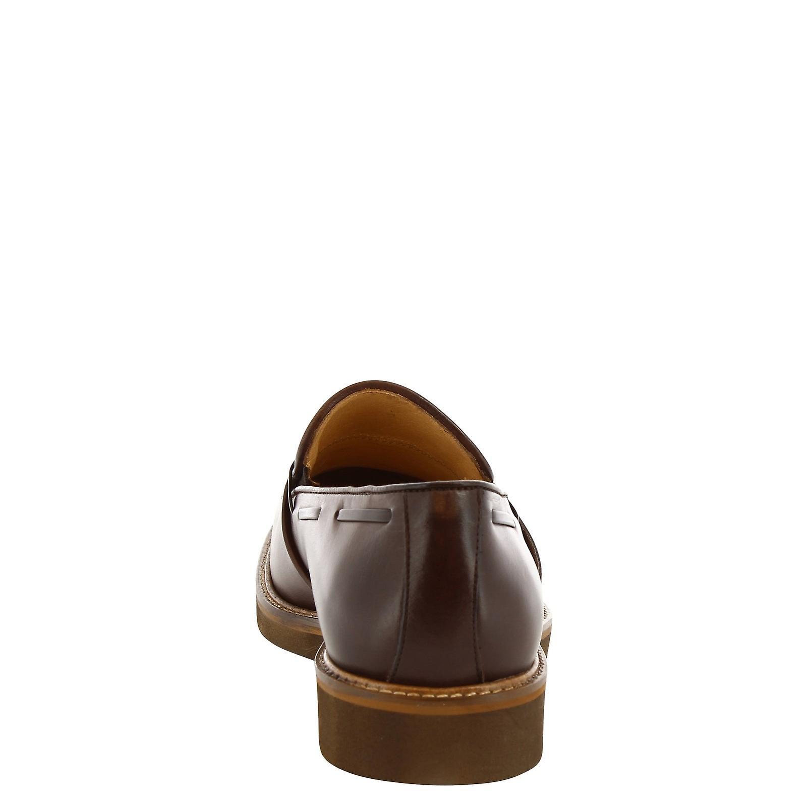 Mocassins pompon à la main de l'homme Leonardo chaussures en cuir marron foncé