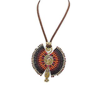 Spiral pendant necklace Orange and Black Pearls and Golden Metal 2574