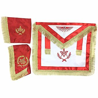 Master Mason Satin Apron, Collar gauntlets Set with Fringe Red