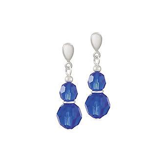 Wieczne kolekcji Echo majestatyczny niebieski austriacki Crystal Silver ton upuść przebili kolczyki