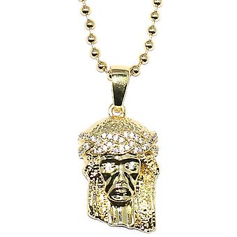 18k Gold Plated Micro Jesus Piece with 30 inch Ball chain Necklace
