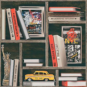 New York City Wallpaper NYC Bookshelf Case Wood Effect Signs Cars Multicoloured