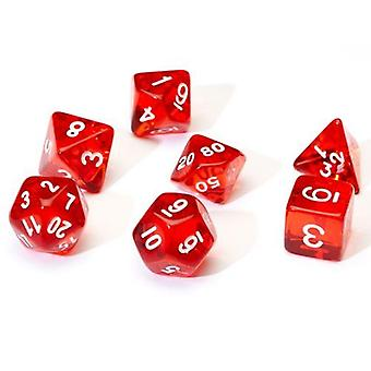 مجموعة النرد الحمراء الشفافة