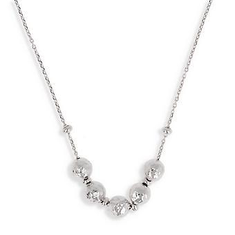 Silver necklace Rhodié Hammered Ball 42cm '3cm'