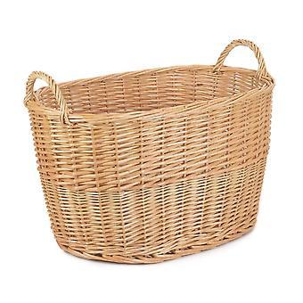 Unlined Large Oval Buff Wicker Storage Basket