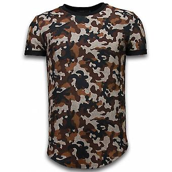 Camouflaged Fashionable T-shirt - Long Fit -Shirt Army Pattern - Brown