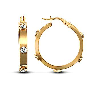 Jewelco London Ladies 9ct Yellow Gold White Round Brilliant Cubic Zirconia Square Tube 4mm Hoop Earrings 24mm