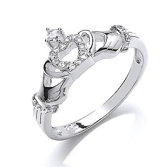 Jewelco London Ladies Rhodium Plated Sterling Silver white Round Brilliant cubic Zirconia Claddagh Dress Ring