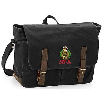 Royal Engineers First In last Out - Licensed British Army Embroidered Waxed Canvas Messenger Bag