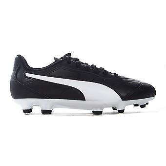 Puma Monarch FG Firme Ground Kids Junior Football Boot Zapato Negro/Blanco
