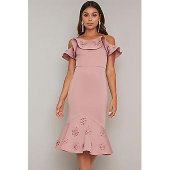 3D Floral Frill Detail Bodycon Dress