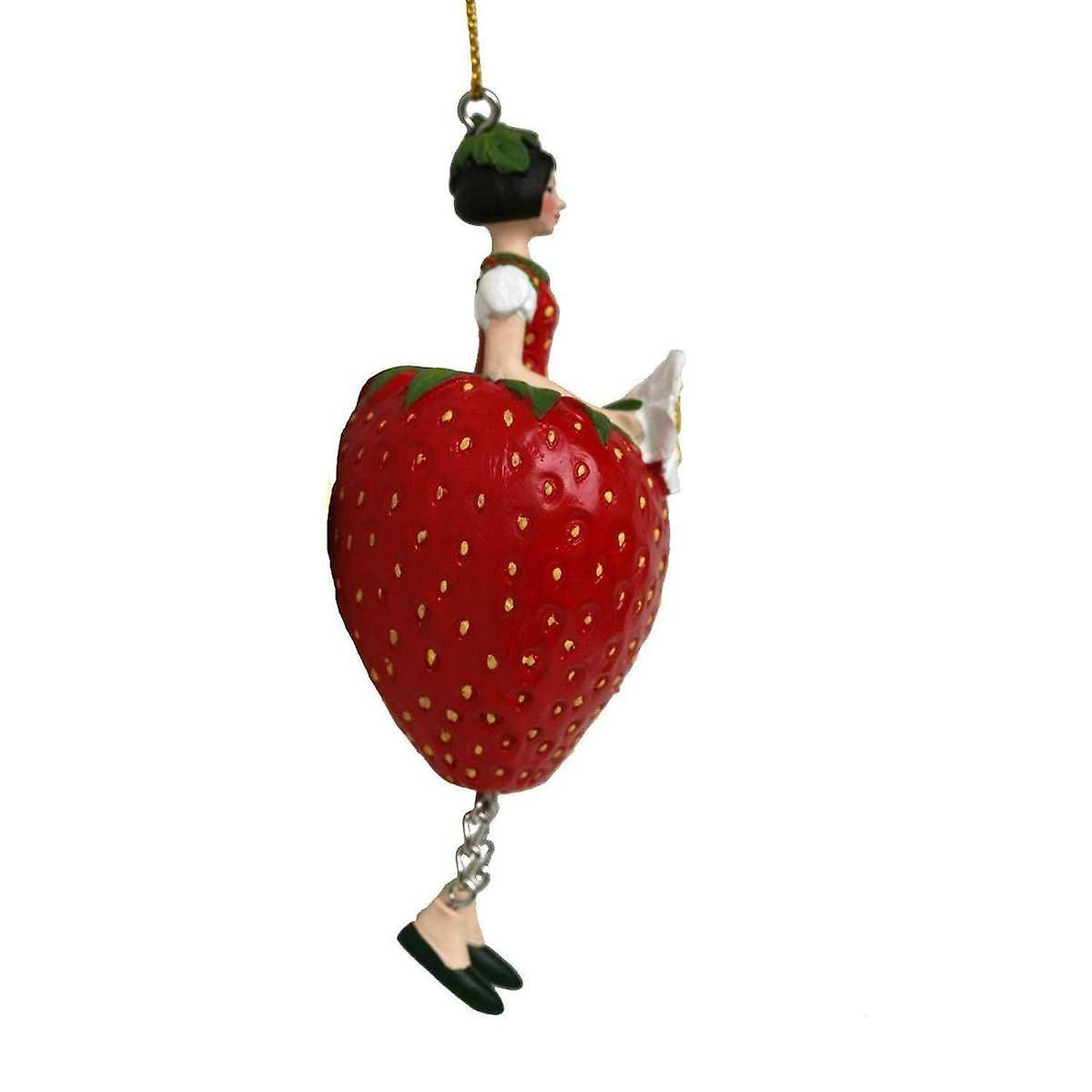 Red flower fairy girl figurine strawberry for hanging