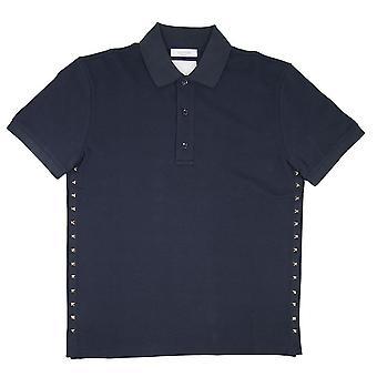 Valentino Rock Stud Polo Camicia Navy Blue