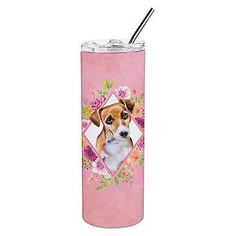 Jack Russell Terrier #1 Pink Flowers Double Walled Stainless Steel 20 oz Skinny