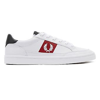 Fred Perry Deuce Mens White / Red / Navy Leather Trainers