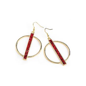 Red and Gold Glitter Effect Round Earrings