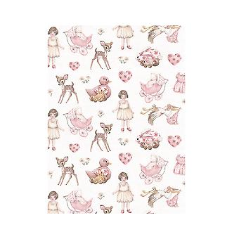 SALE - 3 Vintage Baby Girl Decopatch Paper Sheets for Baby Shower Crafts