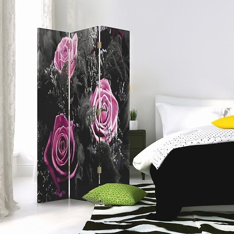 Diviseur de chambre, 3 panneaux, unilatéral, toile, roses